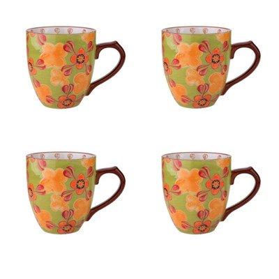 Dutch Wax 14 oz. Grace's Tea Ware Mug Set Green Yellow Floral 4 Piece Set (Set of 4)