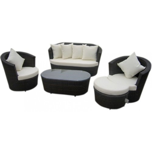 Polyrattan Gartenmöbel Sitzset Lounge Set Tajo 5 Schwarz