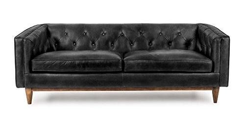 Charming Vintage Black Leather Sofa
