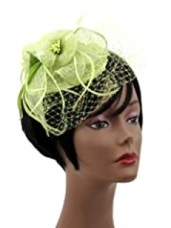 NYfashion101(TM) Cocktail Fashion Sinamay Fascinator Hat Flower Design & Net F09085 (Lime)
