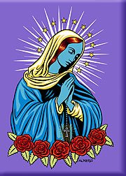Artist Marco Almera Blue Mary (Mother of Jesus) Fridge Magnet