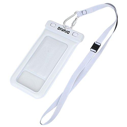 DIVAID 浮く 防水ケース IP68 スマホ iPhone Xperia ネックストラップ iPhone6 / ホワイト
