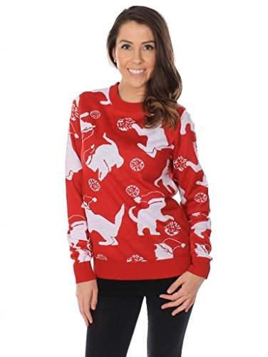 Women's Cats Playing With Yarn Christmas Sweater Size M