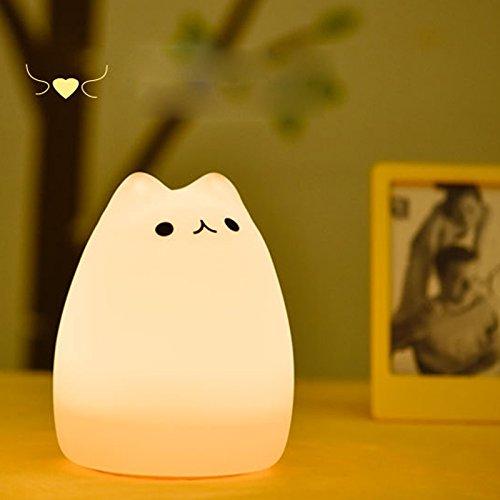 Sefuu LED調節可能暖色ベッドランプ USB充電式寝るとき照明ランプ 多色変更LEDライト 雰囲気作り 常夜灯 小夜灯 夜間照明 シリカゲル猫ニコニコ笑顔感応スイツチランプ 充電式テーブルランプ (招き猫) (人気猫) 41502Bj8qHL