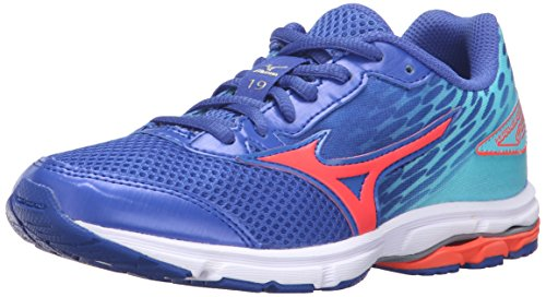 Mizuno Wave Rider 19 Junior Running Shoe (Little Kid/Big Kid), Dazzling Blue/White, 3 M US Little Kid