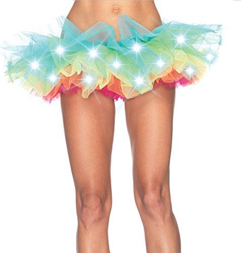COSWE-Women-Rainbow-Tutu-Skirt-with-Lights