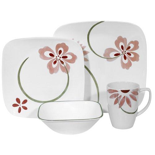 Corelle Pretty Pink Square 16-Piece Dinnerware Set, Service for 4
