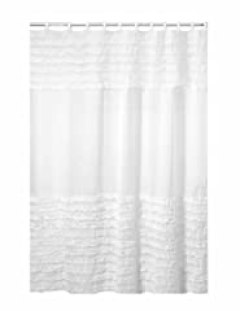 Creative Bath Products Ruffles Shower Curtain, 72W x 72H Inch