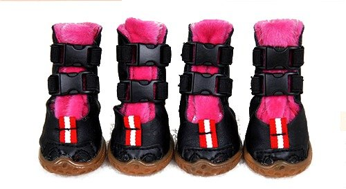 4 PCs Supportive High Double Buckle Winter Warm Furry Suede Leather Snow Skiing Rain Waterproof Anti Non Slip Rubber Sole Pets Boots Shoes For Boy Girl Small Medium Large Dogs