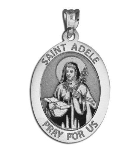 Saint Adele Oval Religious Medal - - 1/2 X 2/3 Inch Size of Dime, Sterling Silver