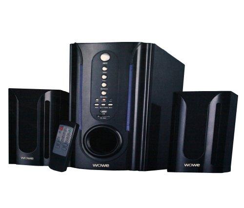 WOWE 2.1 Kabelloses Heimkinosystem mit Subwoofer SD MMC CARD USB TV DVD Anschluss Multimedia Lautsprecher und Fernbedienung