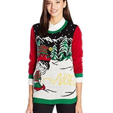Ugly Christmas Sweater Juniors Light-Up Noel Written in Snow