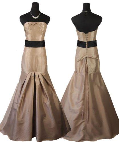 Qpid Showgirl langes Abendkleid mit Bund, Farbe Cappuccino, 5425CP (44, Cappuccino)