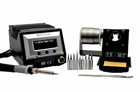 Aoyue 9378 60 Watt Programmable Digital Soldering Station - ESD Safe, includes 10 tips, C/F switchable, Configurable Iron Holder, Spare Heating Element,100-130V