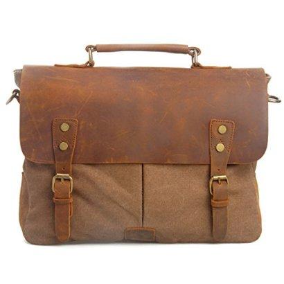 Estarer-MensWomens-Vintage-Leather-Canvas-Laptop-Messenger-Bag-Brown