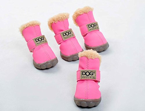 Angel Mall Latest Style DOG Australia Boots Pet Antiskid Shoes Winter Warm Skidproof Sneakers Christmas Gift 4-pcs Set (Candy Pink)