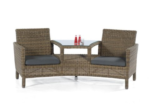 LUNA Duo-Lounge-Sessel Kunststoff-Rundgeflecht antik SonnenPartner