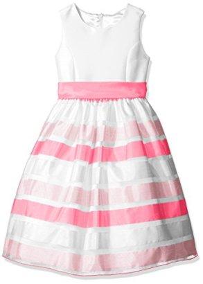 American-Princess-Girls-Solid-Bodice-Stripe-Skirt-Organza-Dress