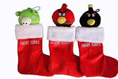 Angry Birds 3 Adorable Assorted Christmas Plush Stockings