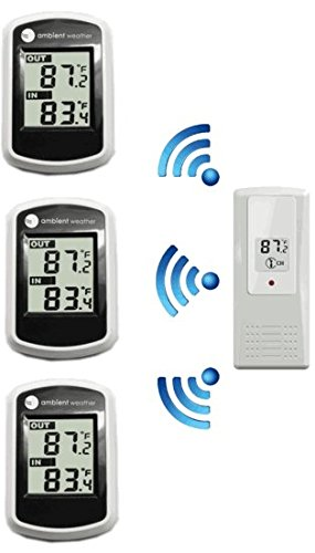 Ambient Weather WS-40-3 Tri Zone Wireless Thermometer with Indoor and Outdoor Temperature