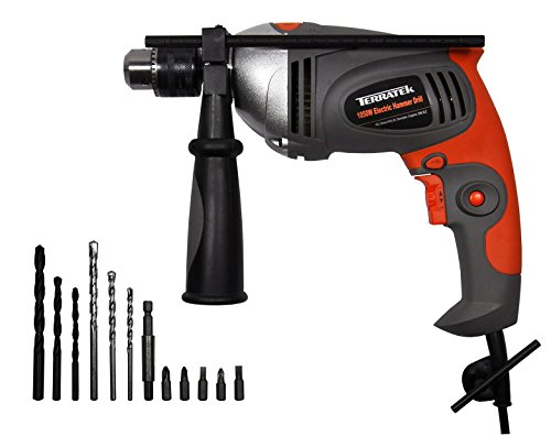 417giQWlSyL - BEST BUY #1 Terratek 1050W Hammer Drill, Powerful Variable Speed Electric Drill Complete with 13pc Drill Bit Set Reviews and price