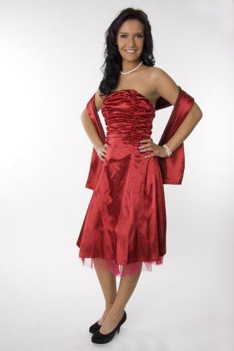 Modell 2026 Abendkleid knielang, schulterfrei, weinrot Größe 40