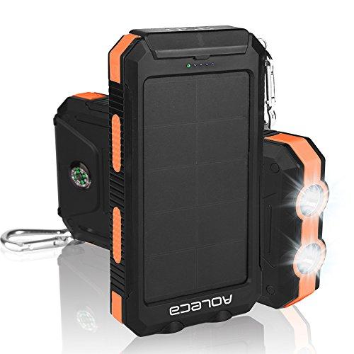Aoleca 10000mAh ソーラーチャージャー スマホソーラー充電器 超大容量モバイルバッテリー、ソーラーパネル 耐衝撃2USB出力ポート ポータブル LED付 充電器iPhone/iPad/Samsung等に対応 オレンジ