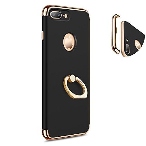 KYOKA iphone7ケース リング付き 衝撃防止 スタンド機能 3パーツ式 アイフォン7ケース おしゃれ 軽量 薄い 携帯カバー iPhone7 ブラック