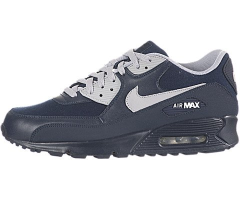 Buy Nike Air Max 90 Mens Running Shoes [325018-402] Obsidian/Wolf Grey-White Mens Shoes 325018-402-12