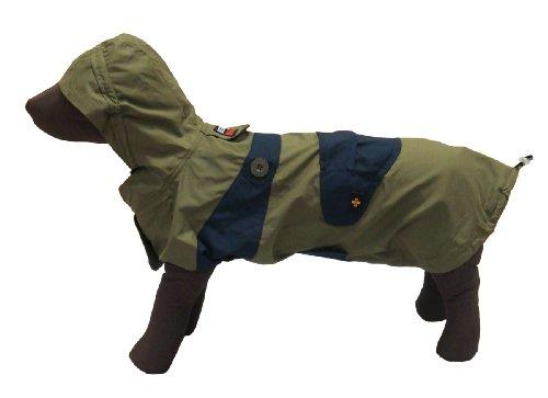 中型犬 ~ 大型犬 用 携帯用 レイ ンウェア ポータブル レインコート (10号, カーキ×ネイビー)