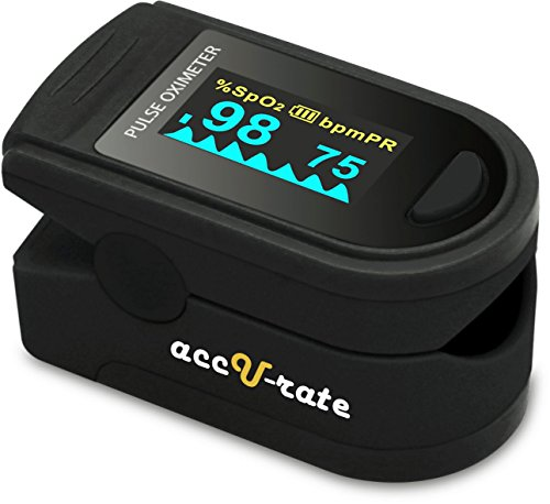 Acc U Rate CMS 500D Generation 2 Fingertip Pulse Oximeter Oximetry Blood Oxygen Saturation Monitor with silicon cover, batteries and lanyard (Jet Black)