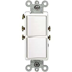 Single Pole Duplex Switch White Leviton  Wall Light