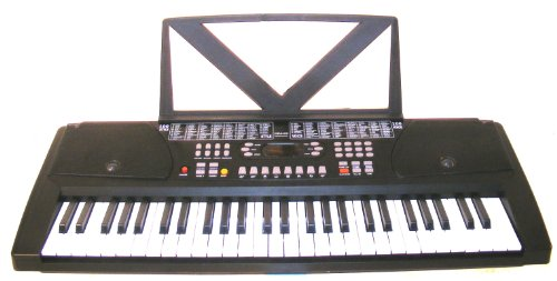 54 Keys Keyboard Student Electronic Digital Piano - with Note Holder & AC Adapter & DirectlyCheap(TM) Translucent Blue Medium Pick