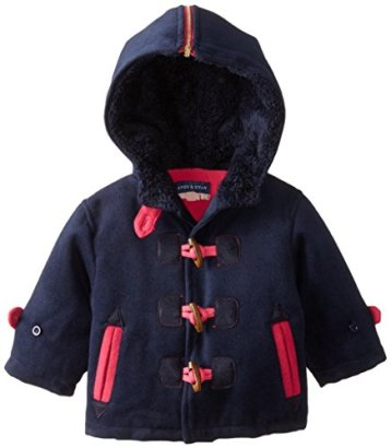Andy-Evan-Baby-Girls-Navy-and-Hot-Pink-Toggle-Pea-Coat-Navy-3-6-Months