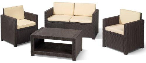 Allibert 183319 Lounge Set Monaco Set, Rattanoptik, Kunststoff, braun