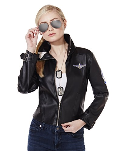 Spirit Halloween Adult Faux Leather Charlie Bomber Jacket - Top Gun, S 4-6, Black, S 4-6, Black