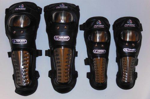 強力ステンレス鋼 安心・安全 プロテクター バイク オートバイ 用 ニー パッド & エルボー のセット 肘ガード 膝スネガード