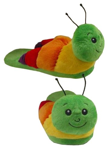 Wishpets Childrens Small Green Caterpillar Slippers