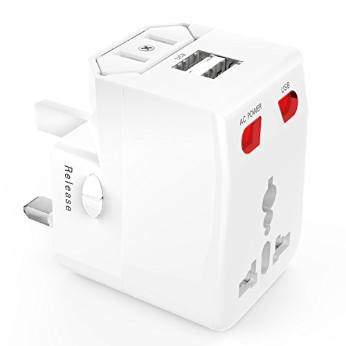 ATiC 2ポートUSB2.1A付き ヒューズ付き 世界対応マルチプラグ 万能プラグ 海外旅行必携品世界各国(UK US JP AU EU等)のコンセントに対応 AC パワー チャージャー変換プラグ/充電USBアダプター/海外旅行用充電器(Charger Converter Plug/Universal Travel Adapter) White