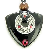 Amulet Swarovski Black Onyx Magic Triangle Celtic Triquetra Knot Necklace Pendant