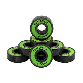 Dark Wolf 1 Set of Skateboard Bearings ABEC 9 Speed Stainless Green 8pcs with 4pcs Spacers