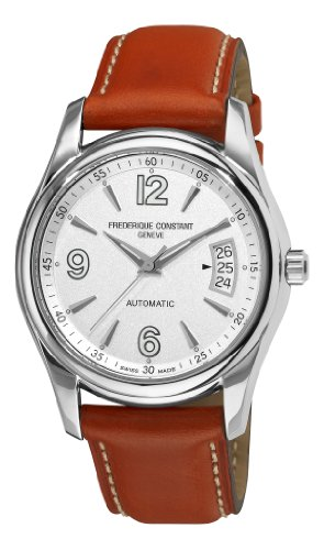 Frederique Constant Men's FC-303S4B26 Junior Silver Dial Brown Strap Watch