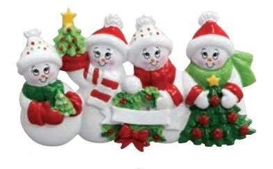 Snowman Family of 4 Personalized Christmas Holiday ornament