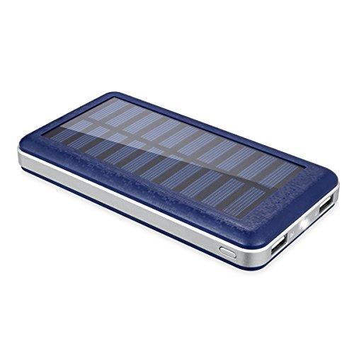 Aedon 超大容量20000mAh モバイルバッテリー 、ソーラーチャージャー 2USB出力ポート  地震、 旅行・ハイキングなどの必要品電源が確保できなかった場合、ソーラーで充電可  青色
