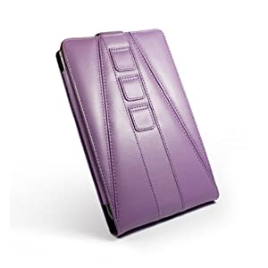 Tuff-Luv Tri-Axis 'Veggie' Faux Leather Case Cover For Barnes & Noble Nook Color - Purple