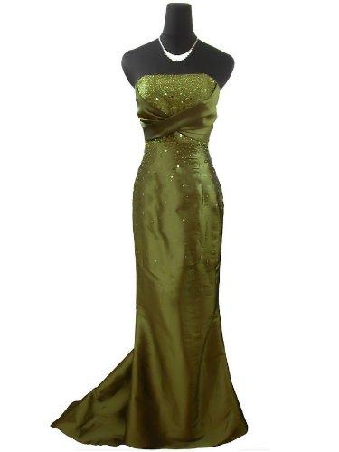 Qpid Showgirl Elegantes Abendkleid in Empire Taille, Fischschwanz, Farbe olivgrün, 3361OL