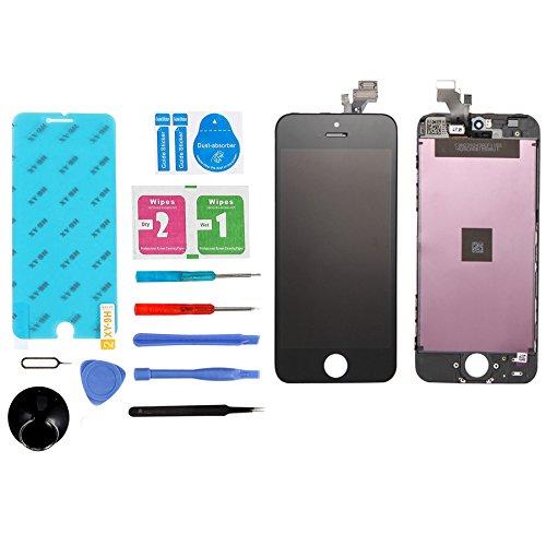ANNTOI for iPhone5 iPhone5修理 iPhone5フロントパネル 修理交換用高品質LCD 液晶LCDスクリーン 修理パーツ iPhoneタッチパネル フロントガラスデジタイザ 液晶パネルセット 割れ 交換修理用パネル対応の交換修理、修理ツール付き iphone5 黒ブラック