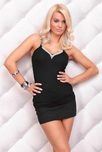 Minikleid Clubwear Cocktailkleid mit Strass schwarz
