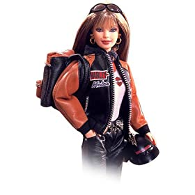 Barbie Collectibles Year 1999 Motor Cycles Harley Davidson Collector Edition Set with Barbie Doll, Leather Jacket, Sleeveless T-Shirt, Pants with Chain Belt, Boots, Scarf, Helmet, Sunglasses, Earrings, Backpack and Certificate of Authenticity