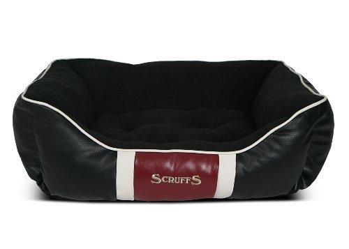 Scruffs Monaco Faux Leather Box Pet Bed, Large, Black